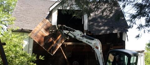 Garage Tear Down By Skip's Hauling